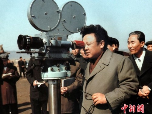 The future Dear Leader provides some on-the-spot guidance on a movie set