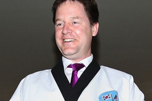 Deputy prime minister Nick Clegg wearing a taekwondo uniform in Seoul during a trade mission