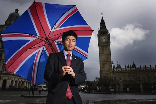 Shin Dong-hyuk in Parliament Square. Photo: Evening Standard / Daniel Hambury