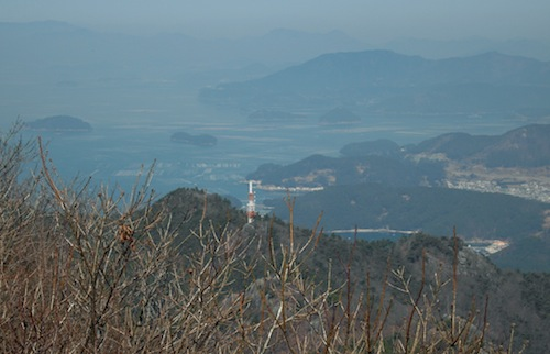 The view west from the peak of Mireuksan - the sea is covered with oyster farms