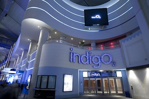 The entrance to the indigO2 venue