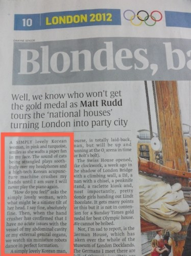 The Sunday Times article (29 July 2012)
