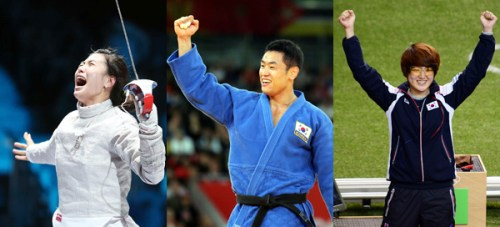 Kim Ji-yeon – women's individual sabre, Song Dae-nam – men's 90kg judo, and Kim Jang-mi – women's 25m pistol