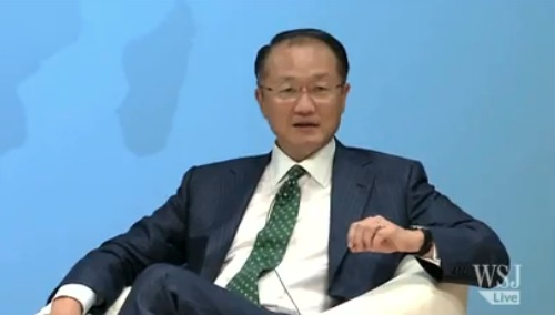 Korean American World Bank President Jim Yong Kim in an interview in the Wall Street Journal