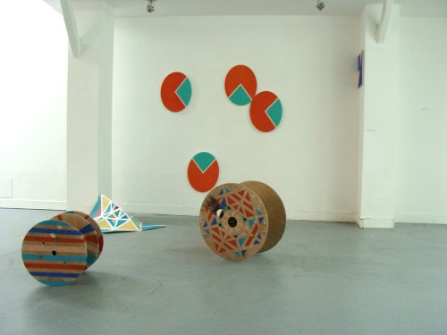 Han Byul Kang: Buttes chaumont (2012) Acrylic on 4 canvases and wooden wheel. Dimensions variable