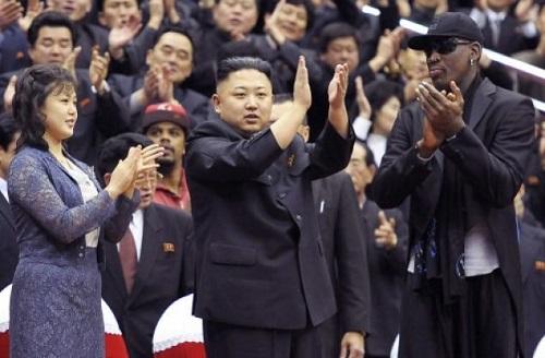 Kim Jong-un flanked by Dennis Rodman and Ri Sol-ju