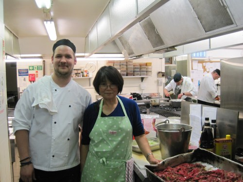 With Chef Stewart, preparing bulgogi
