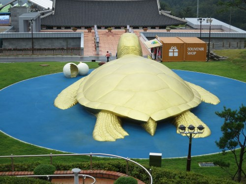 A giant turtle in the centre of the Expo precincts