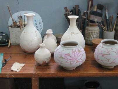 Some work in progress in Min Young-ki's studio