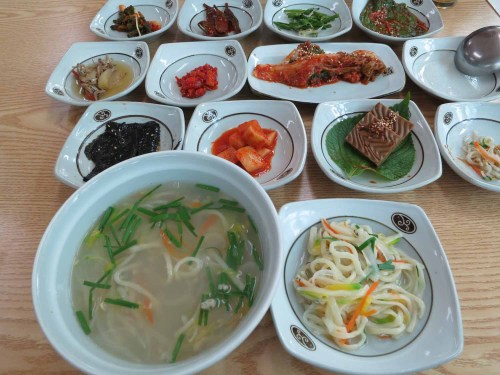 A delicate clam soup with all the side dishes