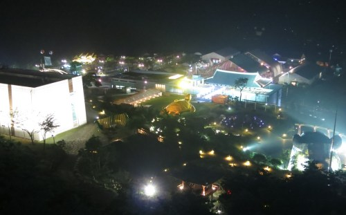 A night-time view of the Expo precincts