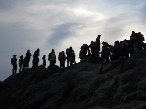 Some of the crowds at the peak