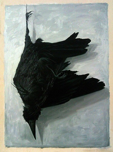 John Stark: Hanged Crow. Oil on wood panel, 36 x 28 cm