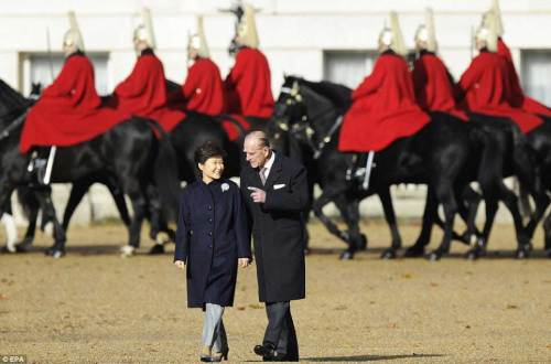 Park Geun-hye and Prince Philip in Horseguards