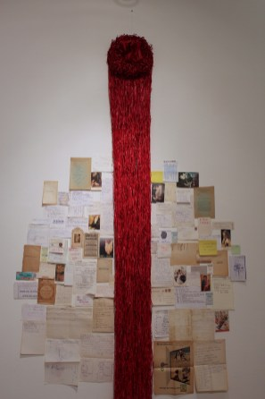 Jukhee Kwon: Red Tree, 2013. Paper (1 book) and mixed found paper, 178 x 90 cm