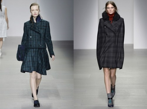 Plaid from the AW14 collections of J. JS Lee (left) and Eudon Choi