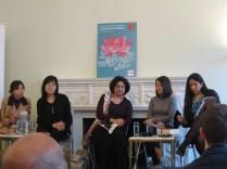 LBF - R to L: Yasmeen Khan, Krys Lee, Qaisra Shahraz, Shin Kyung-sook and interpreter