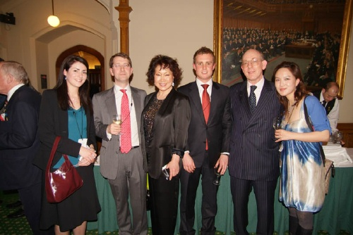 Sylvia Park (centre) with BKS members at the famous Four Ambassadors evening in the Houses of Parliament