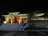 The entrance to the Gi Experience Village at night