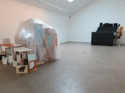Jewyo Rhii at Wilkinson Gallery - installation view of upper gallery, 13 September 2014. Left: Drawing Chorus (2010-2013) and Undocumented Enlightening Object (2013); Right: Fan Theatre (2013)