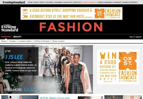 Standard Fashion home page 14 September 2014