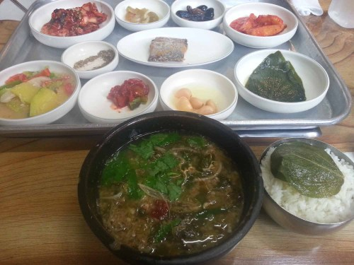Chueotang with its side dishes in a Sancheong eatery