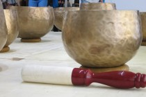 The hammer used to ring the meditation bowls