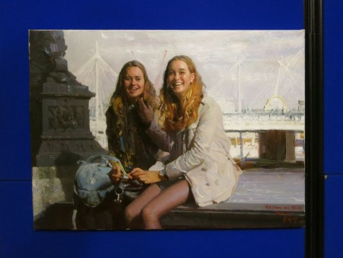 Hong Seong Il: On the Embankment (2014). Oil painting at the DPRK Embassy, London
