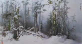 Kim Chun Jon: Forest on Mt Oga (2014) . Chosonhwa painting at the DPRK Embassy