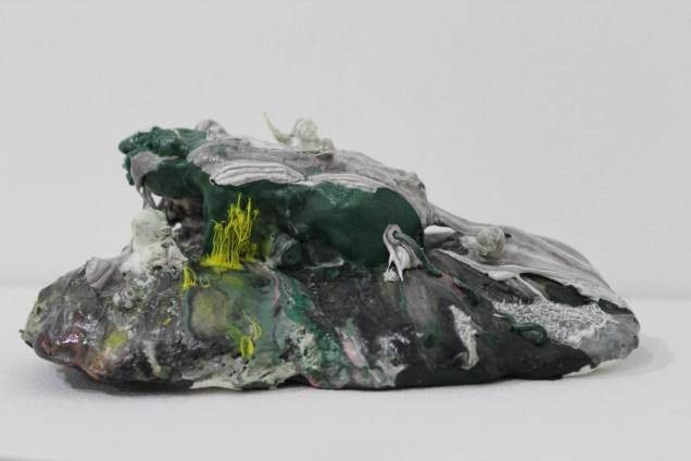 Ham Jin: Island #6 (2014). Polymer clay, glue, wire, 8 x 17 x 11 cm