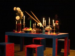 The table is set, ready for dinner (Young In Hong: In Her Dream performance, ICA Theatre, 9 February 2015)