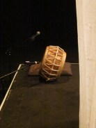 The Korean barrel drum is ready, with, right, confining veils (Young In Hong: In Her Dream performance, ICA Theatre, 9 February 2015)