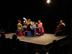 The start of the dinner party (Young In Hong: In Her Dream performance, ICA Theatre, 9 February 2015)