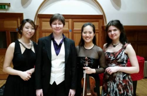 L to R: pianist Sohyun Park, introducer Katy Hamilton, Joo Yeon Sir and pianist Natalia Sokolovskaya