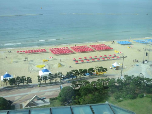 The view of Haeundae beach from the hotel room in the morning.