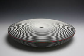Jin Eui Kim - Resonance no.5, D:41.3cm x H:7.2cm, earthenware, wheel-throwing, brushed 18 tones of engobes, applied with thin layer of matt glaze, fired at 1120