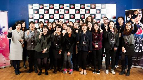 Ms Jeon with the team of staff and volunteers for LKFF 2014 (image courtesy KCCUK)