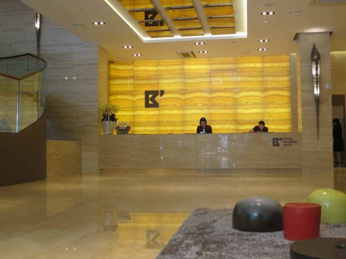 The reception lobby of the Busan Business Motel
