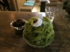Green Tea bingsu with a side order of red beans, from Bing Bing Bing