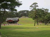 The T-shaped shrine and the mound of the Yeongneung - the tomb of King Sejong and Queen Soheon