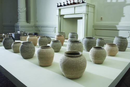 Lee Young Soon, Woven paper jar, installation view with 20 pieces