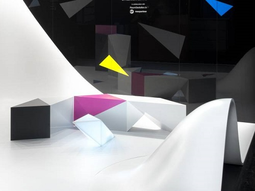 Part of LG Hausys's installation at 100% Design 2015 - a design my Coast Office Furniture realised in HI-MACS