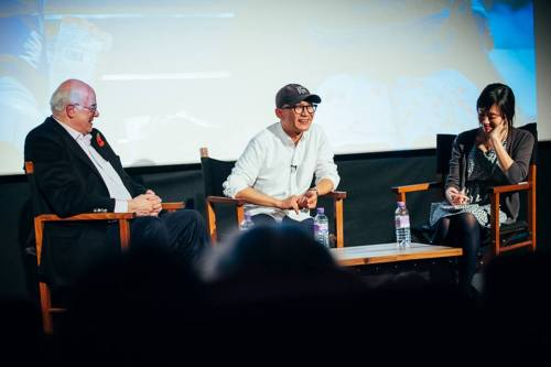 Lee Kwang-guk with Tony Rayns and Rho Seh-hyun after the screening of A Matter of Interpretation (photo KCCUK)