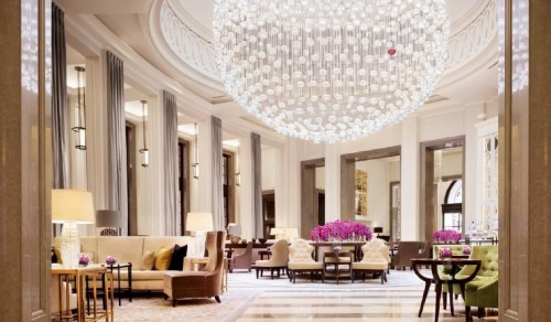 The Baccarat Full Moon chandelier in the Lobby Lounge