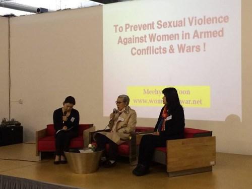 Kim Bok Dong speaking at the KCC