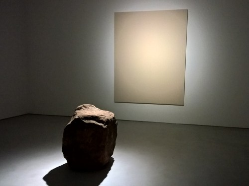 One of Lee Ufan's works installed for his Lisson Gallery exhibition