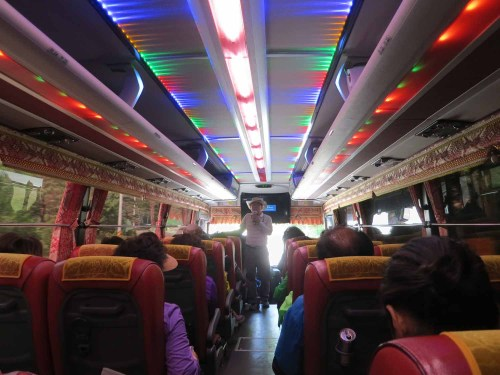 Inside our tour bus