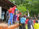 The spirit tree is decorated in front of State Preceptor Beomil's shrine