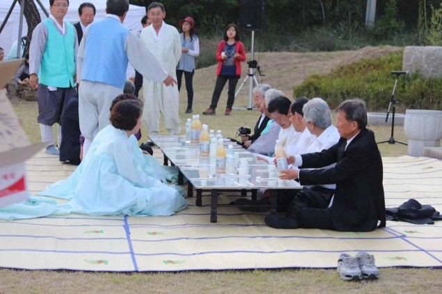 Bonganje: the officials and performers unwind at the end of a long day