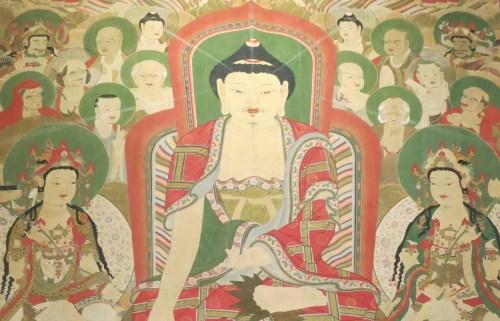 A close-up of the Buddha and Bodhisattvas